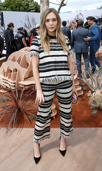 Elizabeth Olsen's striped knit separates were a chic choice for the Christian Dior Fall/Winter 2017-2018 presentation. 