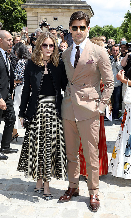 Fashion couple Olivia Palermo and Johannes Huebl were characteristically stylish for their Dior outing. 