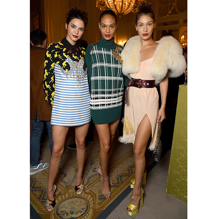 Kendall Jenner, Joan Smalls and Bella Hadid were a supermodel trio at Miu Miu.