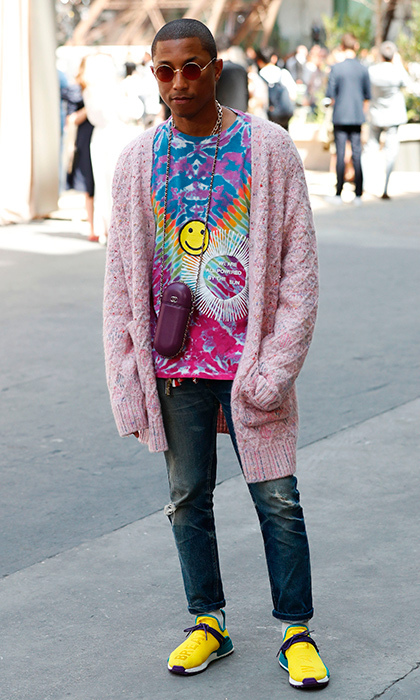 Pharrell's colorful outfit at Chanel came complete with a <I>Happy</I> face.
