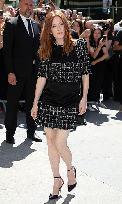 Julianne Moore dressed in classic Chanel monochrome tweed for the Paris show. 