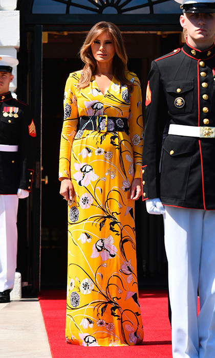 Seen here waiting for the arrival of Indian Prime Minister Narendra Modi at the White House on June 26, Melania donned this sunny summer print by Emilio Pucci.