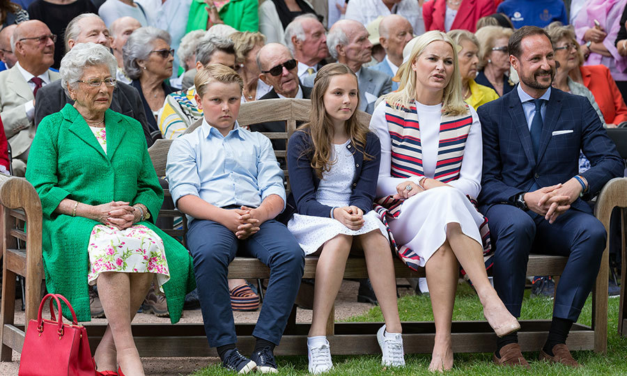 On July 4, Crown Prince Haakon and Crown Princess Mette-Marit of Norway, far right, sat front and center to see the unveiling of the Norwegian Trekking Association's gift in honor of Queen Sonja's 80th birthday. The royal couple were seated alongside their children Prince Sverre Magnus and Princess Ingrid Alexandra, as well as Princess Astrid, far left.