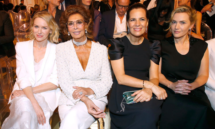 Naomi Watts, Sophie Loren and Kate Winslet sat with Roberta Armani at the Giorgio Armani Prive show in Paris.