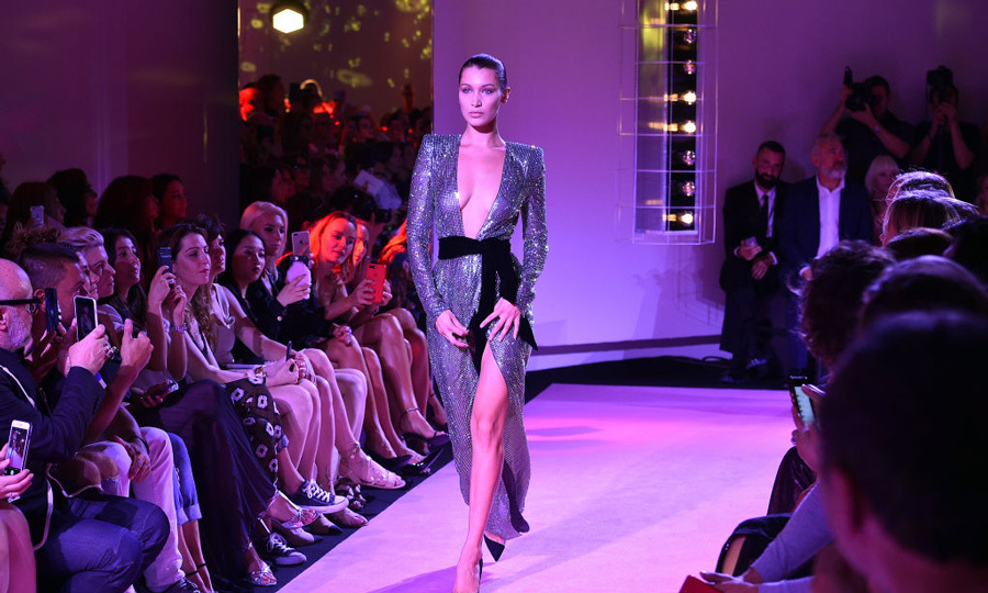 Bella Hadid sparkled down the Alexander Vauthier Haute Couture Fall/Winter 2017-2018 show.