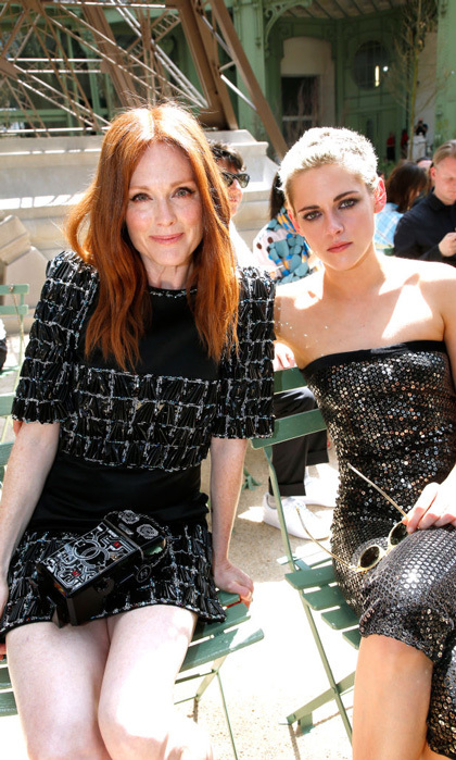Be still... our hearts! Julianne Moore reunited with her <i>Still Alice</i> co-star Kristen Stewart at the Chanel Haute Couture show.