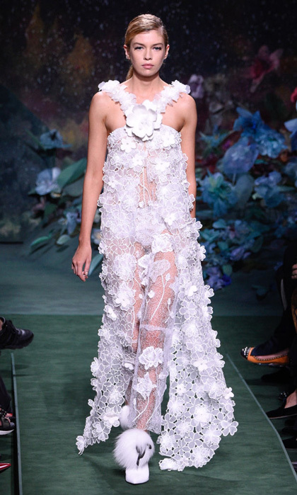 Stella Maxwell looked angelic in this sheer Fendi number down the fashion house's runway.