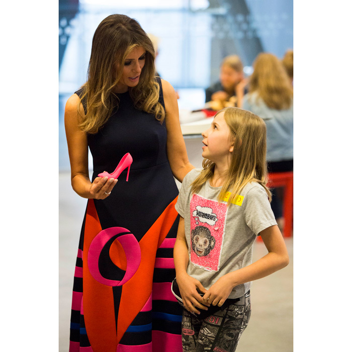 Melania Trump wore a colorful Delpozo dress as she visited the Copernicus Science Center in Warsaw, Poland on July 6. The first lady paired her dress with hot pink Manolo Blahnik heels that were then used in a demonstration to make a miniature shoe from a 3D printer.
