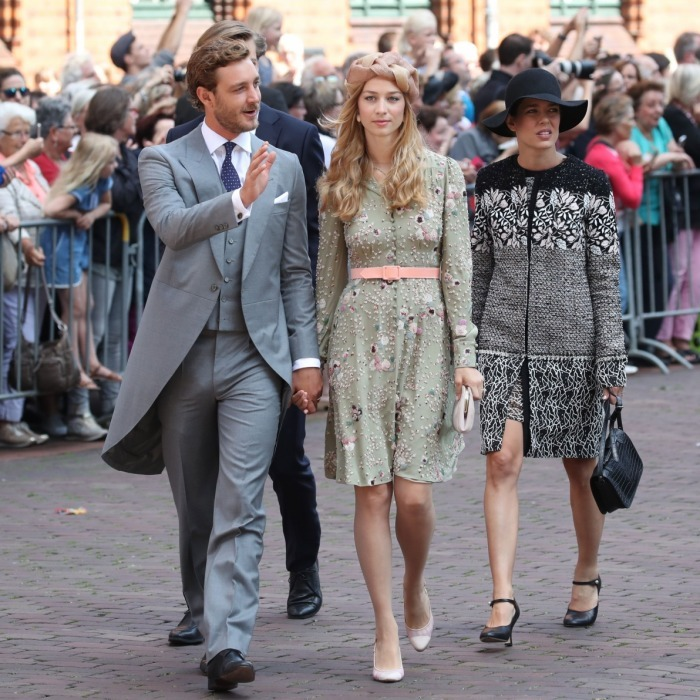 Pierre Casiraghi with his wife Beatrice Borromeo and sister Charlotte attended the wedding.