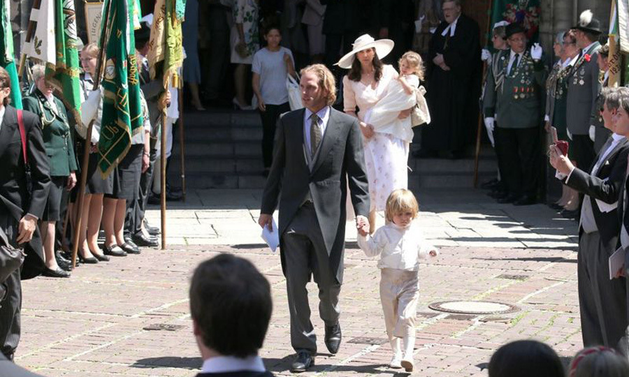 Andrea Casiraghi and Tatiana Santo Domingo brought their two children to the service.