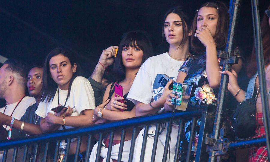 Kendall and Kylie Jenner watched Travis Scott's set from sidestage during the Wireless Festival Day 2 at Finsbury Park on July 8.