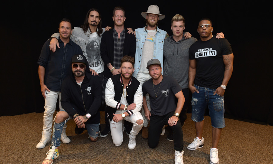 Singers in the out field! Florida Georgia Line, the Backstreet Boys, Nelly and Chris Lane all got together for one epic photo after their Fenway Park performance of <i>The Smooth Tour</i> on July 8.