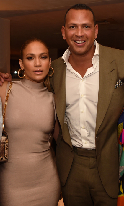 Jennifer Lopez and Alex Rodriguez were a coordinating couple at The New Era Cap All-Stars weekend kick-off party at 1 Hotel South Club in Miami on July 9.