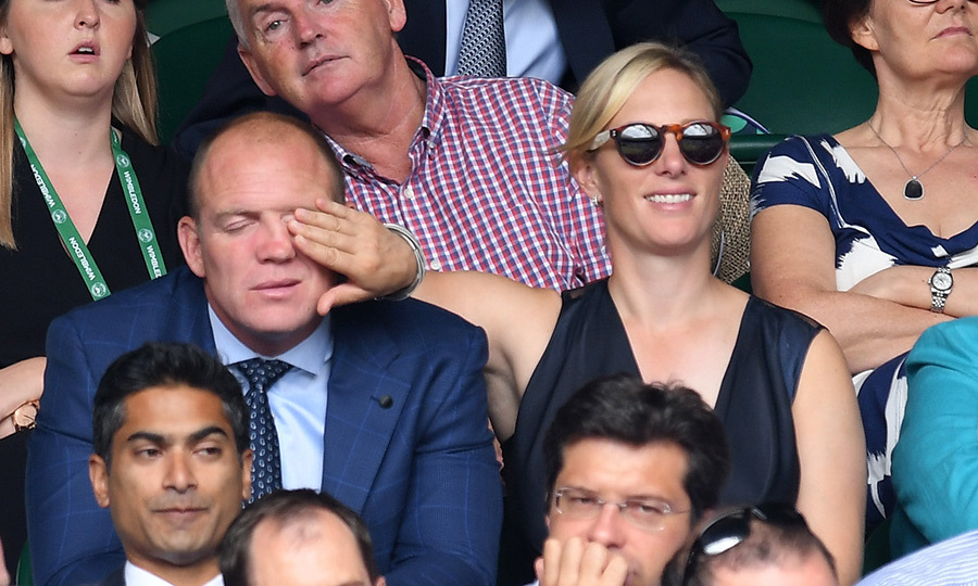 Queen Elizabeth's granddaughter Zara Tindall and husband Mike had a playful moment in the stands. 
