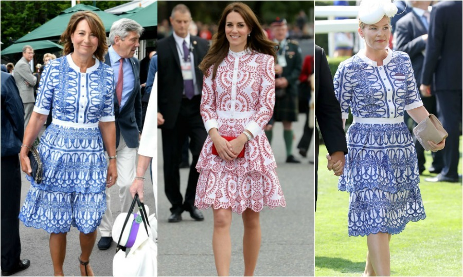 Carole Middleton took style inspiration from her oldest daughter Kate for her latest Wimbledon appearance on July 12 wearing a tiered dress very similar to one the Duchess of Cambridge wore back in September during her royal tour of Canada and identical to the one worn by Autumn Phillips to Royal Ascot.