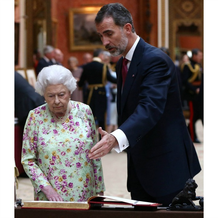 King Felipe and the Queen discussed the Spanish items inside of the Royal Collection at Buckingham Palace. The Spanish royal learned about his great grandmother, Queen Ena of Spain, who was Queen Victoria's youngest granddaughter. 