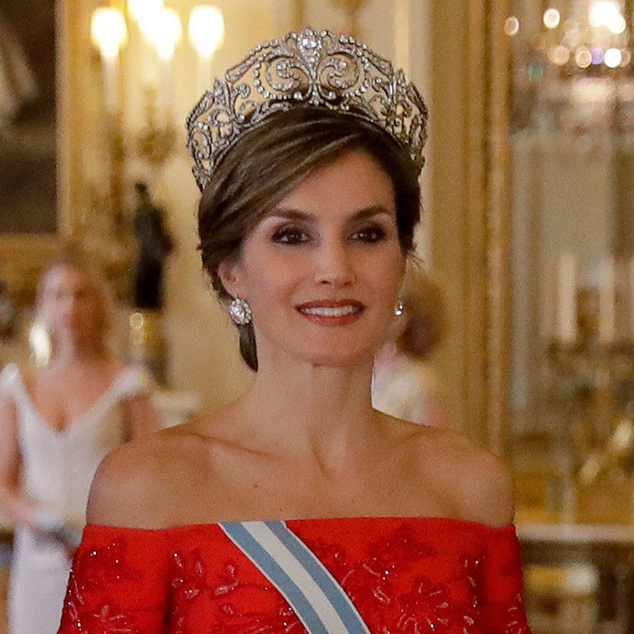 Queen Letizia opted for the jaw-dropping Fleur de Lys tiara, which was originally a wedding present from King Alfonso XIII to his wife Princess Victoria Eugenie, who wore it on her wedding day in 1906. 