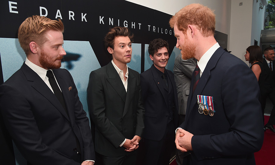 On July 13, 2017, fans of Prince Harry and Harry Styles had double the excitement when the two met at the <I>Dunkirk</I> world premiere at Odeon Leicester Square in London. Also on hand for the meet-and-greet were One Direction heartthrob Harry's co-stars in the film, Jack Lowden and Aneurin Barnard.