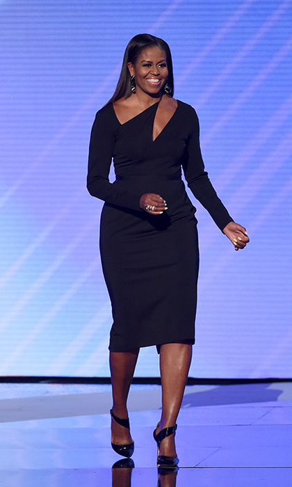 Former first lady Michelle Obama made a stunning return to the spotlight on stage at the 2017 ESPYS at Microsoft Theater in Cushnie et Ochs on July 12 in Los Angeles.