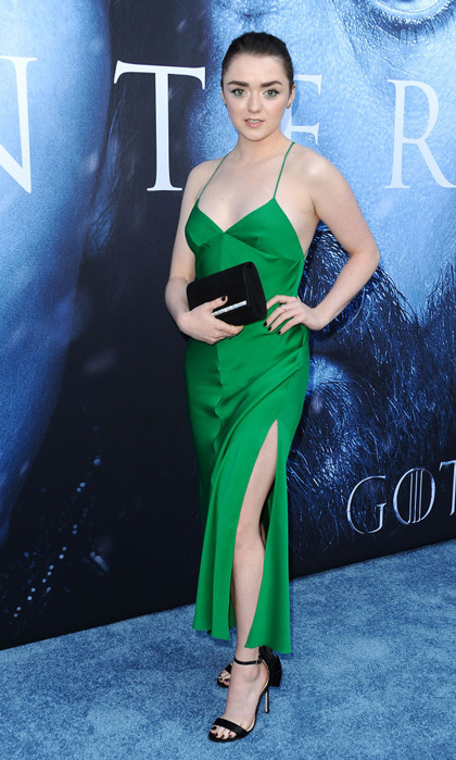 Maisie Williams made everyone green with envy in her satin dress during the <i>Game of Thrones</i> premiere.