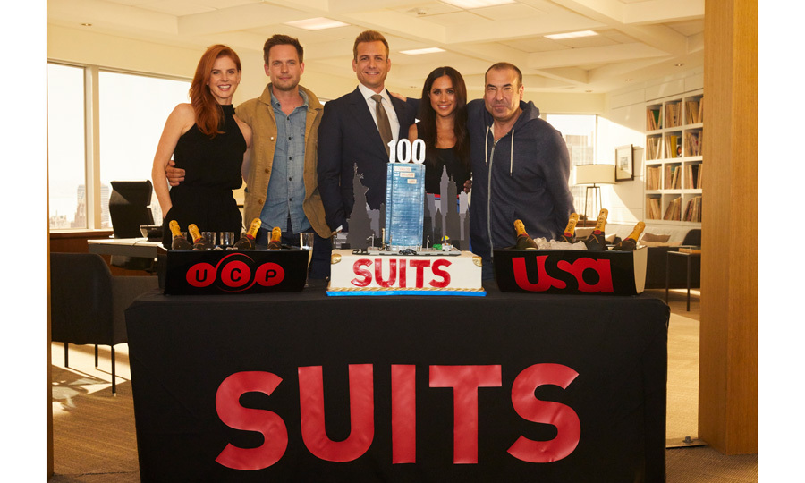 Sarah Rafferty, Patrick J. Adams, Gabriel Macht, Meghan Markle and Rick Hoffman came together to celebrate the 100th episode of their TV show Suits in Toronto on July 11. During the gathering, the cast took a turn to speak about their time on the show. Meghan thanked the crew for their hard work and reminisced about growing up on a TV set when her dad worked on <i>Married with Children</i>.