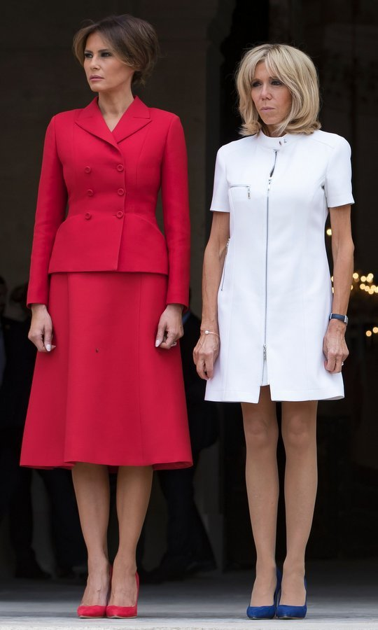 When the American first lady, dressed in Dior, met her French counterpart during a welcome ceremony at Les Invalides in Paris on July 13, together they made for a very patriotic palette.