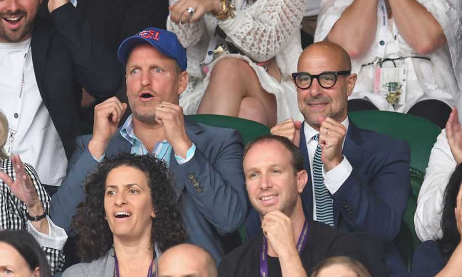 <i>Hunger Games</i> co-stars Woody Harrelson and Stanley Tucci had the same reaction as they watched Venus Williams against Garbine Muguruza in the finals.