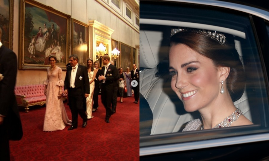Kate was a style match for Letizia, in a pale pink gown by Marchesa for the state banquet in honor of the Spanish royal visit.