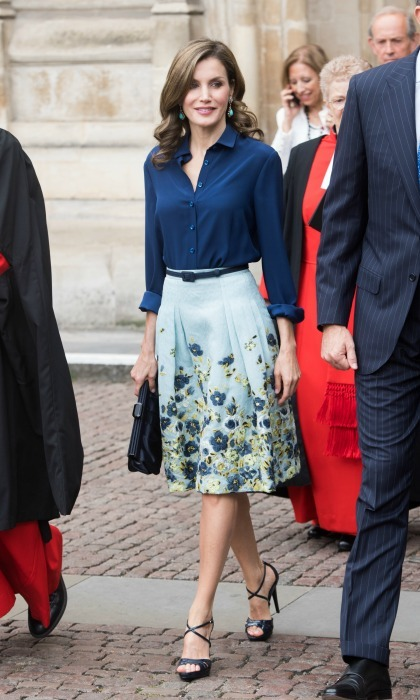 Letizia recycled her look for day 2 of her state visit to the UK. During a joint engagement at the Westminster Abby, the Queen wore a skirt by Carolina Herrera paired with a navy blouse by Felipe Varela.