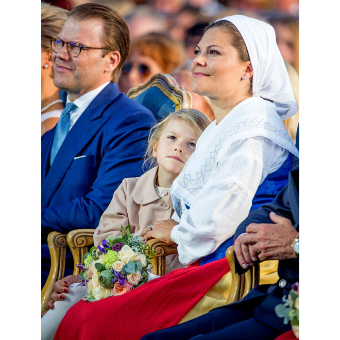 Princess Estelle stuck by her mom during one of the several celebrations in her honor in Borgholm, Sweden.