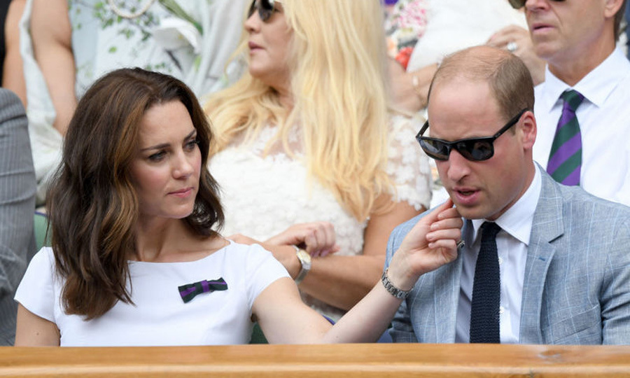During the men's final at Wimbledon, Duchess Kate wiped her husband's cheek as they watched Roger Federer in the royal box.