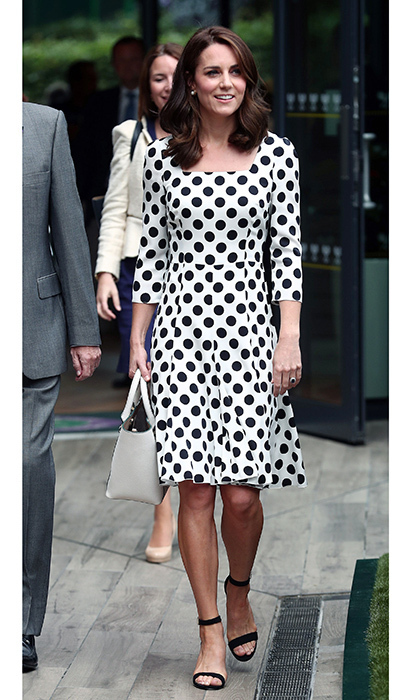 The always stylish Duchess of Cambridge wore a polka dot dress by Dolce & Gabbana as she made her debut as patron of the famed tennis tournament on July 3, 2017. The royal teamed the tailored silk dress with earrings by another major designer label, Oscar de la Renta, as she visited the All England Lawn Tennis and Croquet Club.