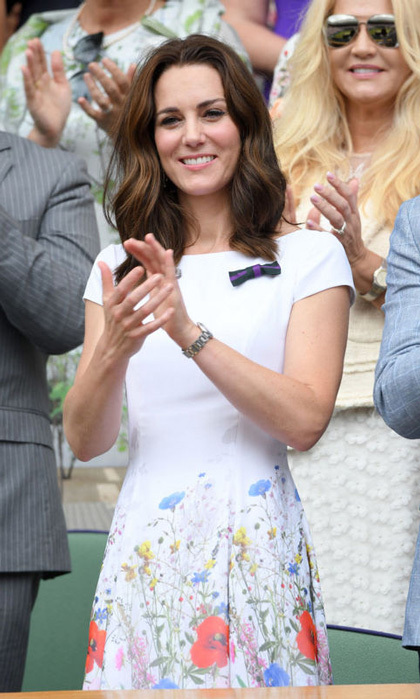 Kate Middleton wore a short-sleeved Catherine Walker dress with floral details for the final day of Wimbledon 2017 on July 16, 2017.