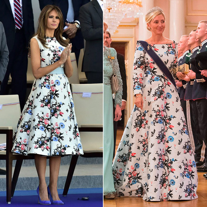 Valentino is a hit with royals and the starry set – and also, of course, first ladies! Both Melania Trump, left, and Crown Princess Marie-Chantal of Greece, right, fell in love with this gorgeous Valentino print. The American first lady wore a short version of the A-line dress for a visit to Paris in July 2017, while the Greek royal opted for a floor-sweeping gown to help King Harold and Queen Sonja of Norway celebrate their birthdays in Oslo back in May.