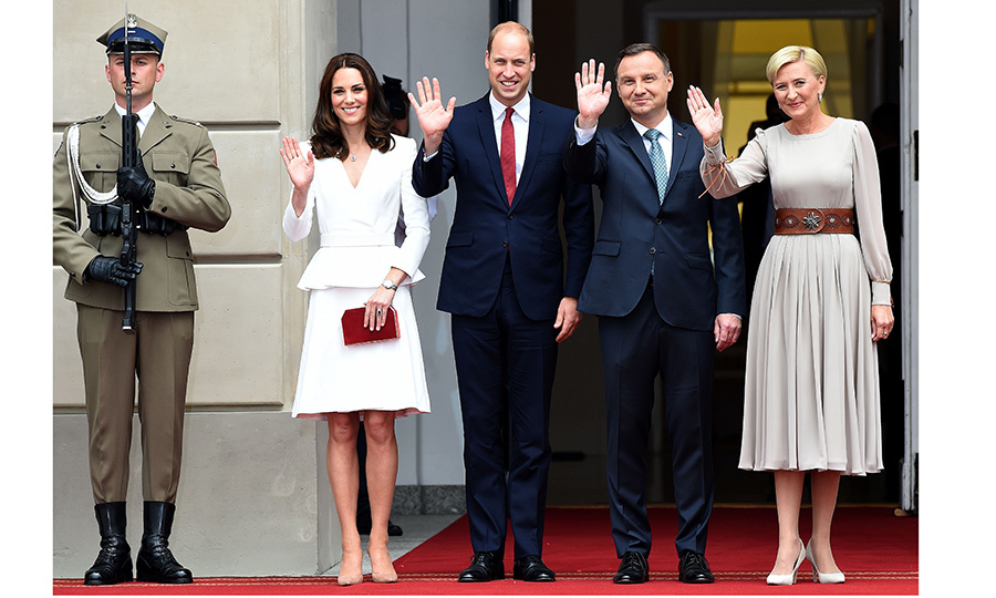Poland's President Andrzej Duda and his wife Agata welcomed the royal couple to the presidential palace in Warsaw.