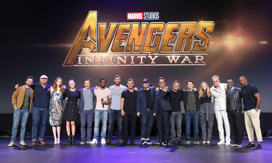 The Avengers and their super hero allies united at the D23 Expo 2017 on July 15, where a trailer for the highly-anticipated <i>Avengers: Infinity War</i> debuted. Stars Sebastian Stan, Dave Bautista, Karen Gillan, Pom Klementieff, Benedict Cumberbatch, Chadwick Boseman, Josh Brolin, Chris Hemsworth, producer Kevin Feige, Robert Downey Jr., Mark Ruffalo, Tom Holland, Elizabeth Olsen, Paul Bettany, Don Cheadle, and Anthony Mackie posed for a super photo on stage during the Walt Disney Studios live action presentation at Disney's D23 EXPO 2017.