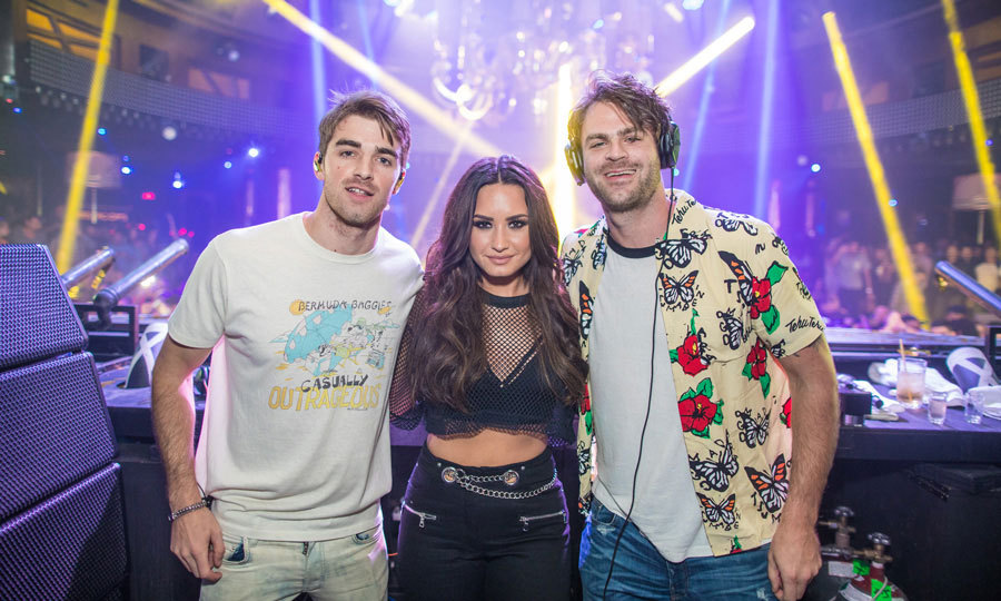Demi Lovato surprised a packed house at the Wynn Las Vegas' XS Nightclub on July 14 performing her new single, <i>Sorry Not Sorry</i>, with The Chainsmokers, who were spinning a set of their hits as part of their Wynn Nightlife residency.