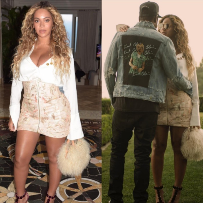 Beyoncé showed off her post-baby body on Instagram posting a photo of herself wearing a high-waisted nude mini skirt and white blouse. The <i>Lemonade</i> singer and husband JAY-Z stepped out on July 13 to attend an event celebrating Roc Nation artist Vic Mensa in L.A.