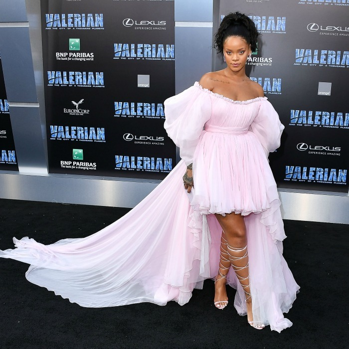 Rihanna graced the red carpet for her latest film <i>Valerian and the City of a Thousand Planets</i> wearing a custom Giambattista Valli dress, Manolo Blahnik shoes and Chopard jewels on July 17 in Hollywood.