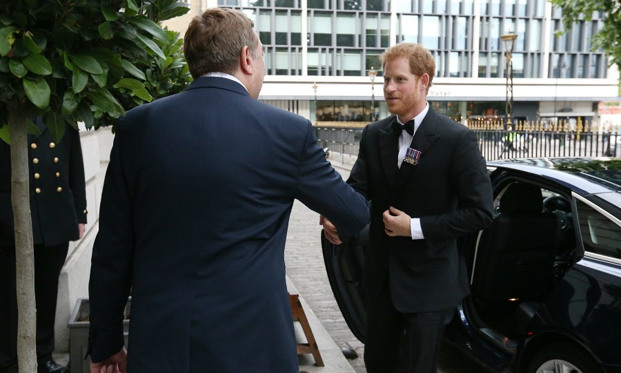 Prince Harry looked like Prince Charming in black tie at the reception for the Vernon Monument. The Prince, who wore his military ribbons on his lapel, met those in support of the campaign to install a monument dedicated to the heritage of HMS Vernon. 