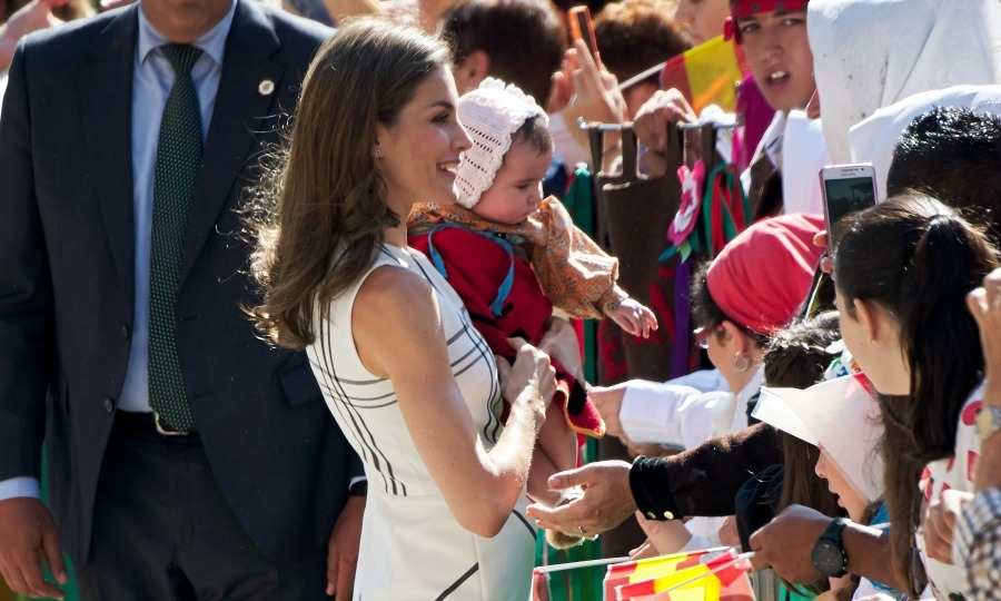 Baby fever! Queen Letizia shared an adorable moment with a baby as she greeted the crowd outside of Santo Toribio de Liebana Monastery in celebration of the Lebaniego Jubilee Year.