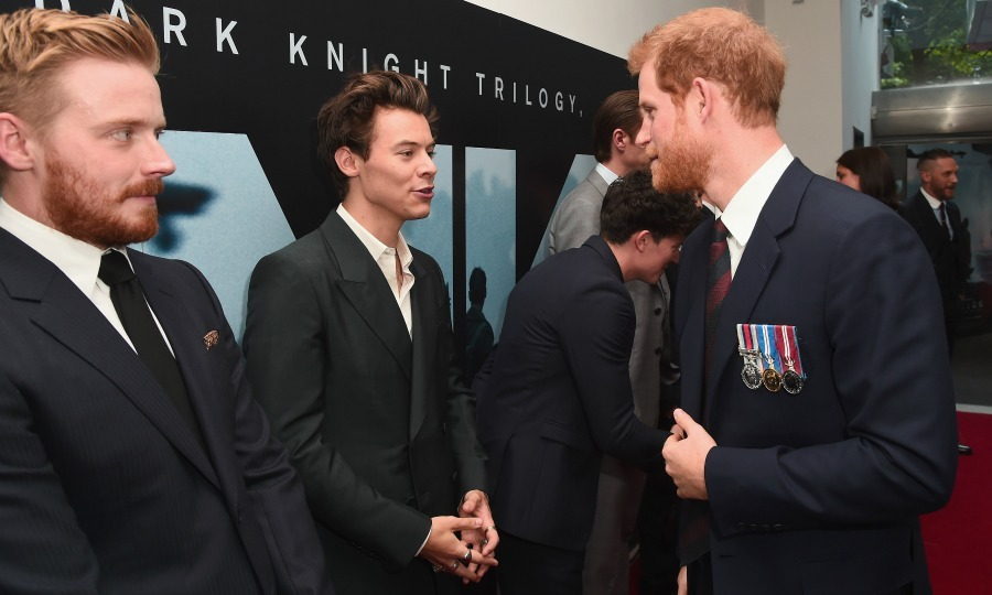 Music royalty met actual royalty! Prince Harry chatted with Harry Styles and other actors from the World War II film Dunkirk. The British royal, who escorted <i>Dunkirk</i> veterans to the premiere, praised the singer-turned-actor and the other men for their portrayal of the soldiers in the film.