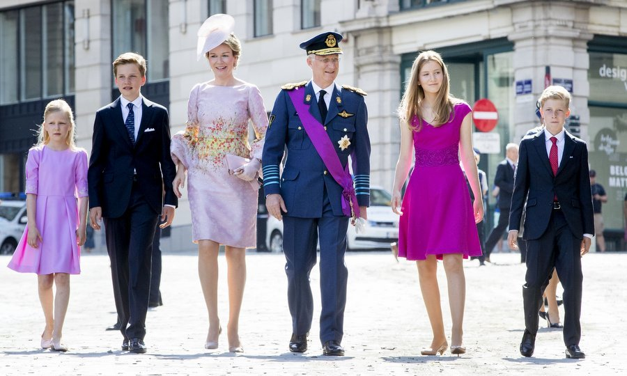 The Belgian royal family (from left to right) Princess Eleonore, Prince Gabriel, Queen Mathilde, King Philippe, Princess Elisabeth and Prince Emmanuel turned out in style for their country's National Day on July 21.