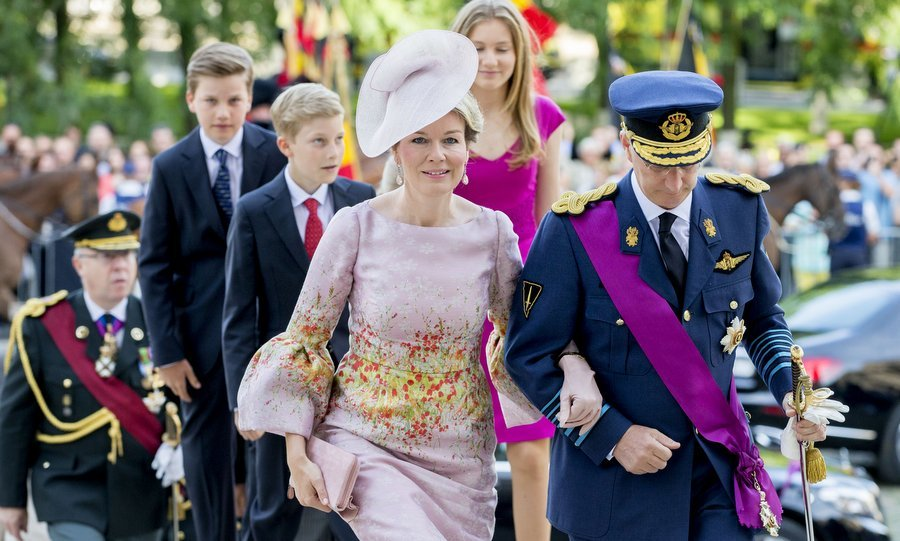 In honor of the occasion, which also includes a military parade and a fireworks display, the Belgian royals attended the Te Deum mass in Brussels' Cathedral of St. Michael and St. Gudula.