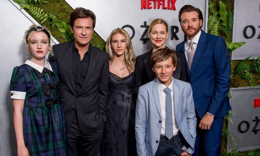 Jason Bateman and Laura Linney were joined by their <I>Ozark</I> co-stars Julia Garner, far left, Sofia Hublitz, center, Skylar Gaertner, front, and Jason Butler Harner, far right, at the new Netflix series' New York screening, held at The Metrograph on July 20.