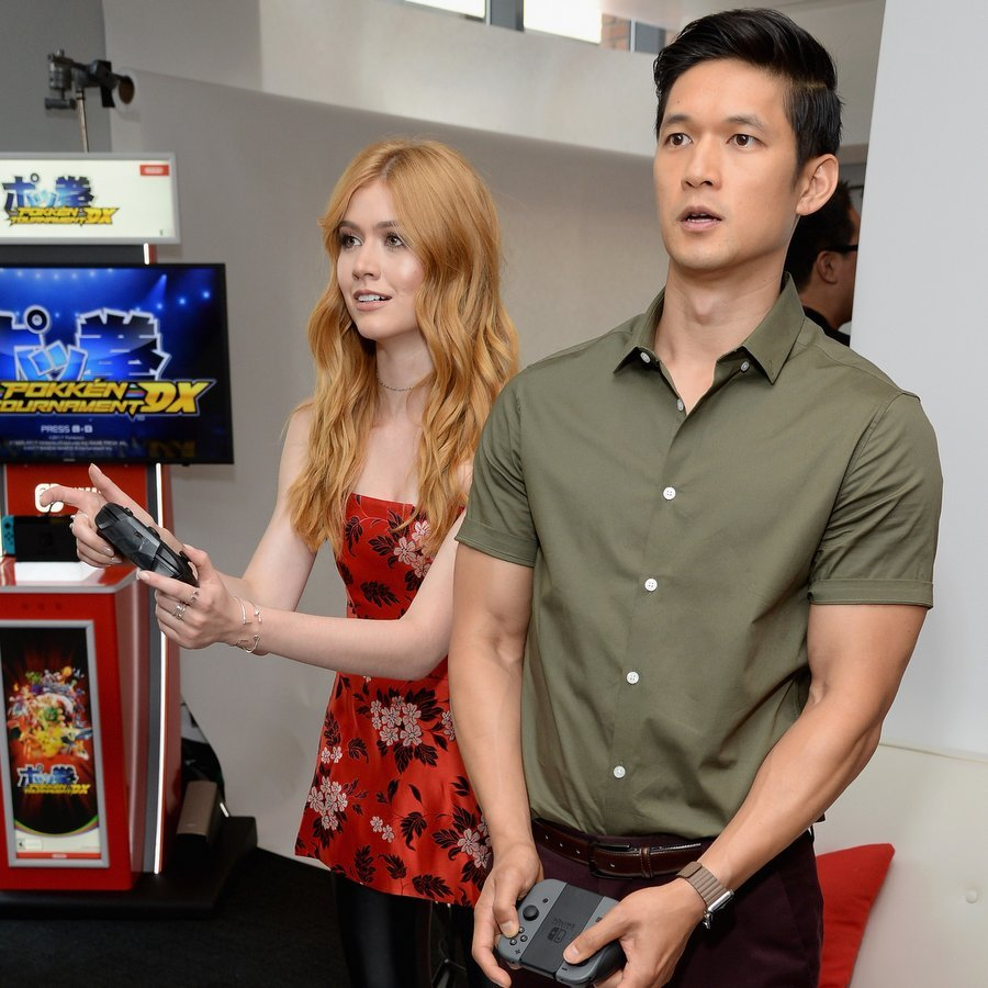 Katherine McNamara and Harry Shum Jr. of <i>Shadowhunters</I> tried out their gaming skills with some help from Nintendo Switch at the Comic-Con International 2017 TV Insider Lounge. 