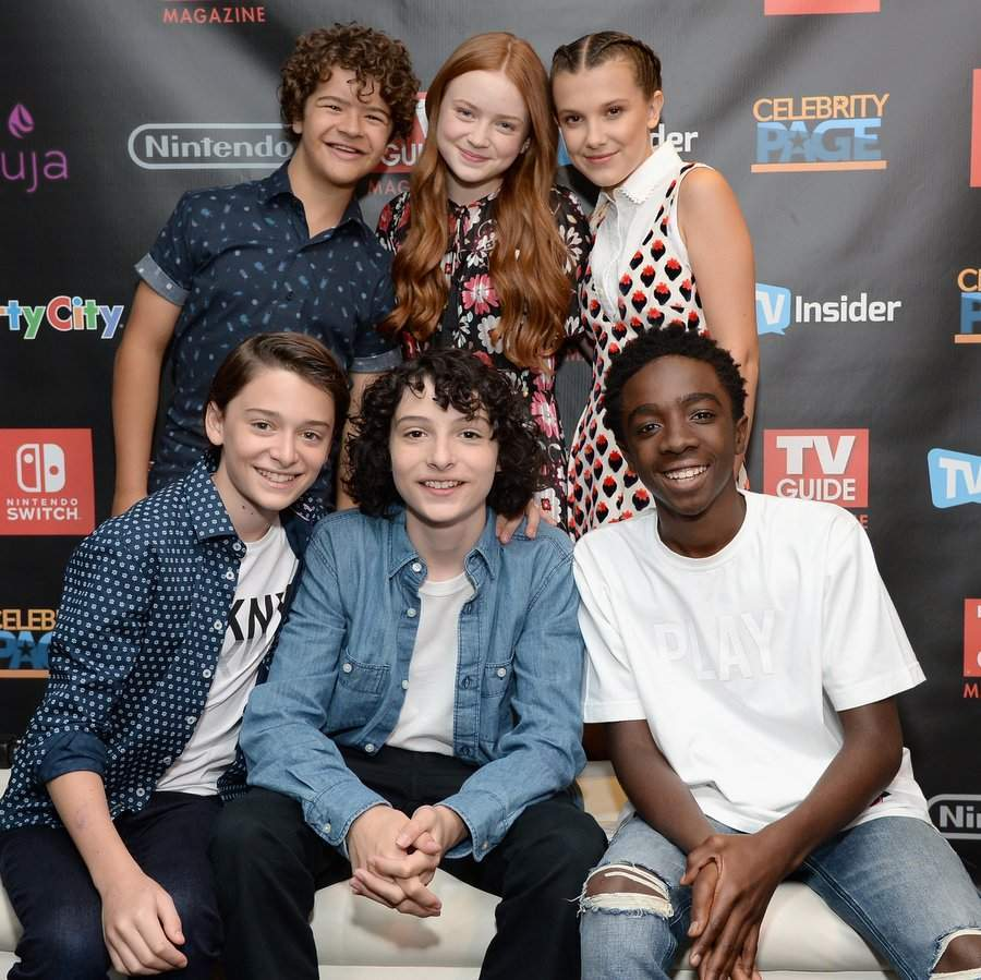They're baaaaack! The kids from <I>Stranger Things</I> were on hand at Comic-Con in San Diego to talk all things season two. The gang also stopped by the TV Insider Lounge to check out Nintendo Switch! Back row, left to right: Gaten Matarazzo, Sadie Sink, Millie Bobby Brown. Front row, left to right: Noah Schnapp, Finn Wolfhard and Caleb McLaughlin.  