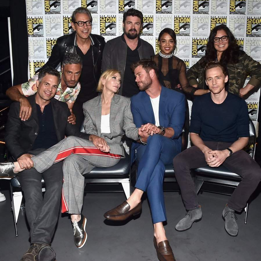 On July 22, Chris joined the whole <I>'Thor: Ragnarok</I> cast for the Marvel Studios panel – and some goofing off! Back row, left to right Jeff Goldblum, Karl Urban, Tessa Thompson, Rachel House; front row left to right, Mark Ruffalo, director Taika Waititi, Cate Blanchett, Chris Hemsworth and Tom Hiddleston. 