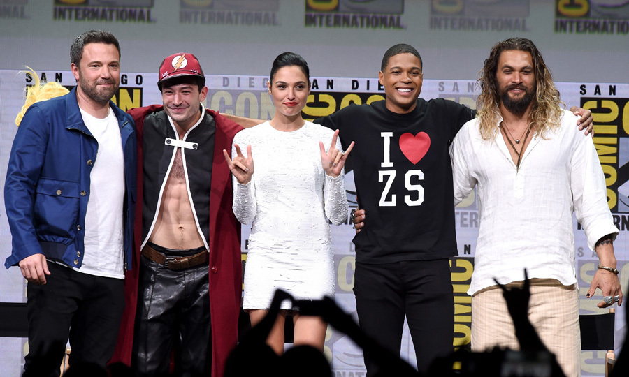 Just one of the guys! Gal Gadot joined her Justice League co-stars (Ben Affleck, Ezra Miller, Ray Fisher, and Jason Momoa) on stage at the Warner Bros. Pictures presentation during Comic-Con International 2017 on July 22.