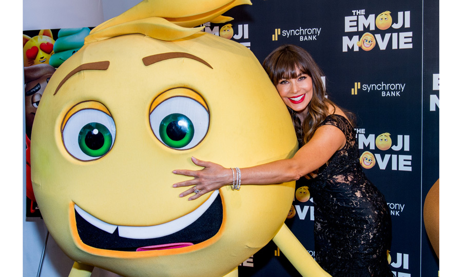 Sofia Vergara made a friend at a special screening of <I>The Emoji Movie</I> at New York's NYIT Auditorium on Broadway on July 23.
